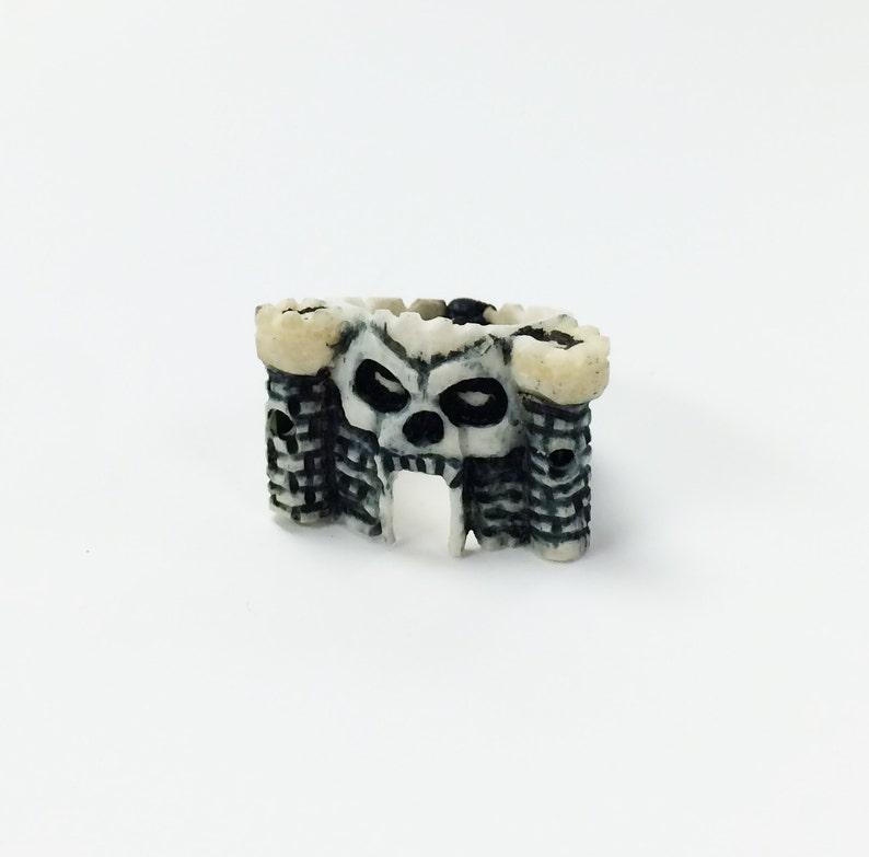 One of a kind Novelty Skull Castle Ring made of Bone image 0
