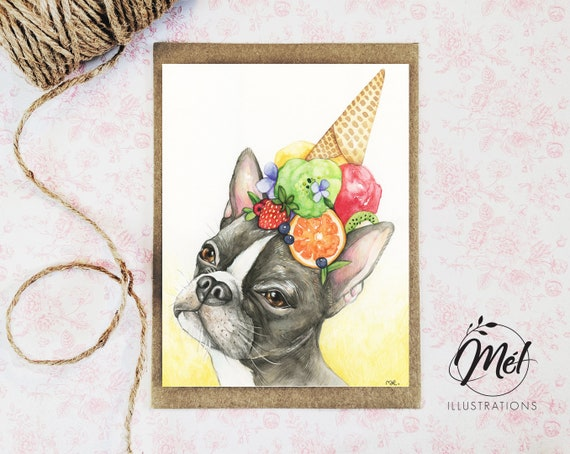 Greeting Card With A Boston Terrier Birthday Card With A Dog Etsy