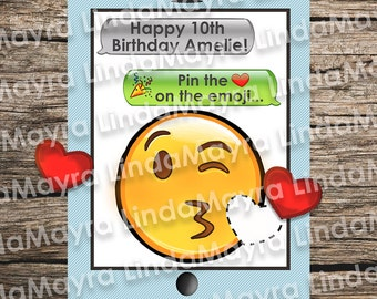 Emoji Theme Birthday Party Game Digital Download Pin The