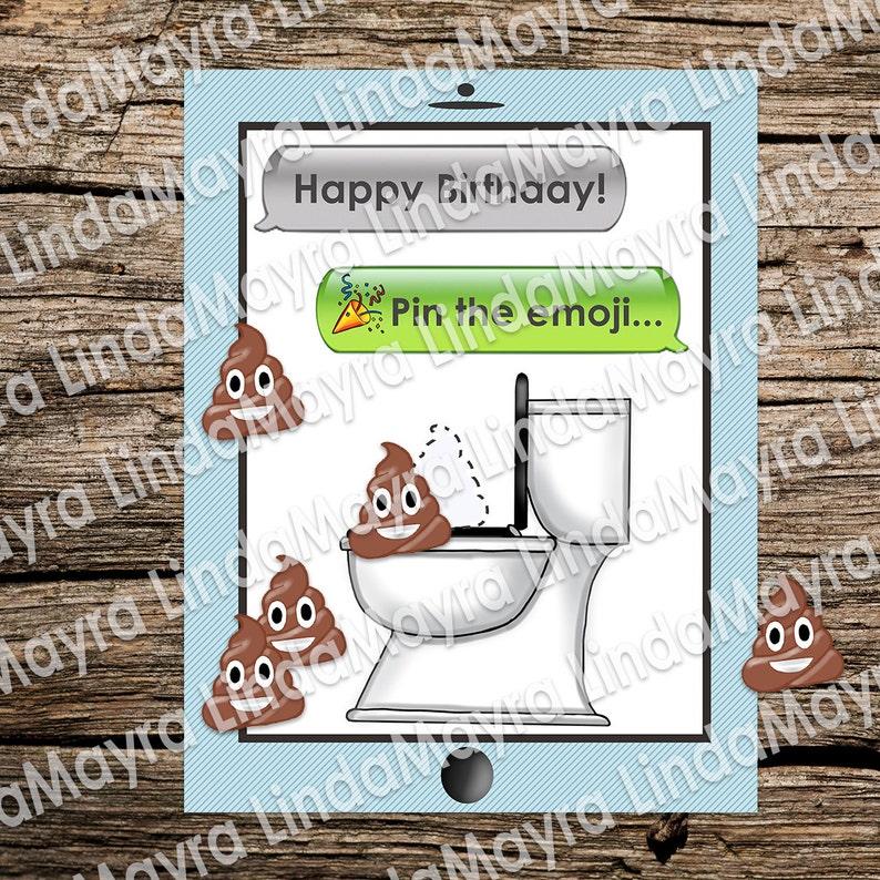 Emoji Theme Birthday Party Game Digital Download Pin The