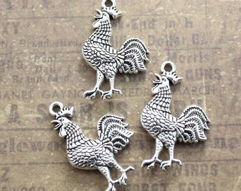 dcc4657a9 10 Rooster Charms Cock Charms Chicken Pendants Antiqued Silver Tone Double  Sided 20 x 30 mm