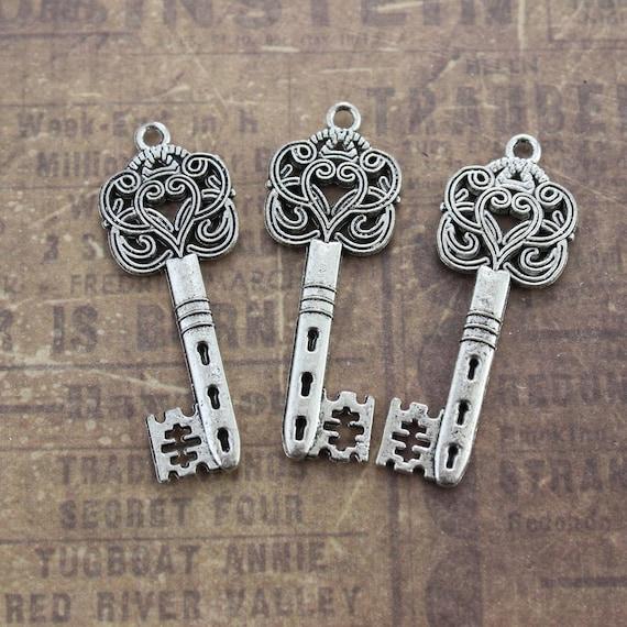 BULK 10 Key pendants antique silver tone K42