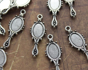 Mirror Charms Mirror Pendants Antiqued Silver Tone Double Sided  8 x 25 mm