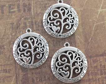 10 Mom Charms You Are the Heart of Our Family Charms Antiqued Silver Tone  28 mm