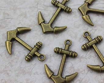10 Anchor Charms Anchor Pendants Antiqued Bronze Double Sided 20 x 25 mm