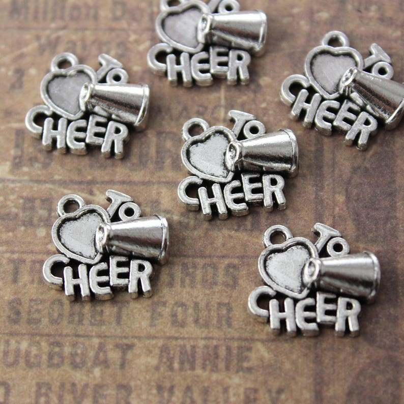 2-5 Silver Cheerleader Charms 10 Pieces 25mm