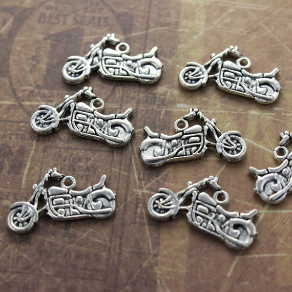 20pcs Motorcycle Charms Motorcycle Pendants Silver tone Double Sided 24x15mm