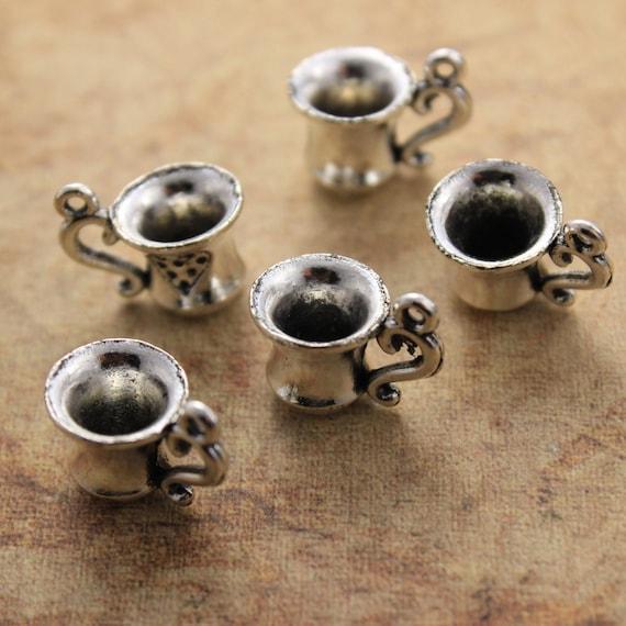 5 x Tibetan Silver TEA BAG CUP OF TEA 3D Charms Pendants Beads