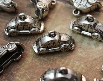 10 Beetle Car Charms/Pendants Antiqued Silver Doubled sided 3D