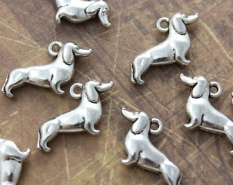 Dachshund Charms Dog Pendants Antiqued Silver Tone Double sided 12 x 20 mm