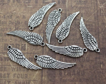 10 Angel Wing Charms Wing Pendants Antiqued Silver Tone Double Sided  10 x 27 mm