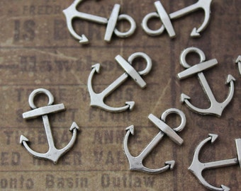10 Tiny Anchor Charms Anchor Pendands Antiqued Silver Tone Double Sided 15 x 13mm