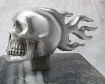 vintage rare flaming skull  motorcycle car hood ornament
