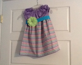 2e4ed59fb Chevron Peasant Dress size 3, colorful, summer, with attached flower Easter  Summer