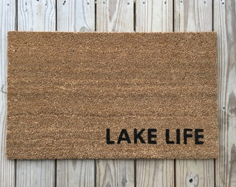 Lake Life. Unique Doormats, Cute welcome mat, home and living, housewarming gifts, home décor, handmade, trendy, lake house