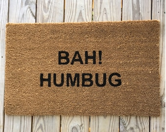 Bah Humbug, White Elephant Gift, Christmas decoration, Funny Christmas Mat, funny doormat, home and living, home décor,