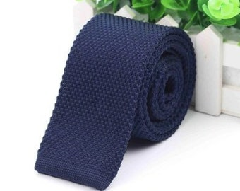 f33e6e48d9ef Knitted Navy Blue Skinny Tie | knit tie | skinny tie | wedding gift | knit  tie | groom | square cut knit tie | wedding tie | gift for dad