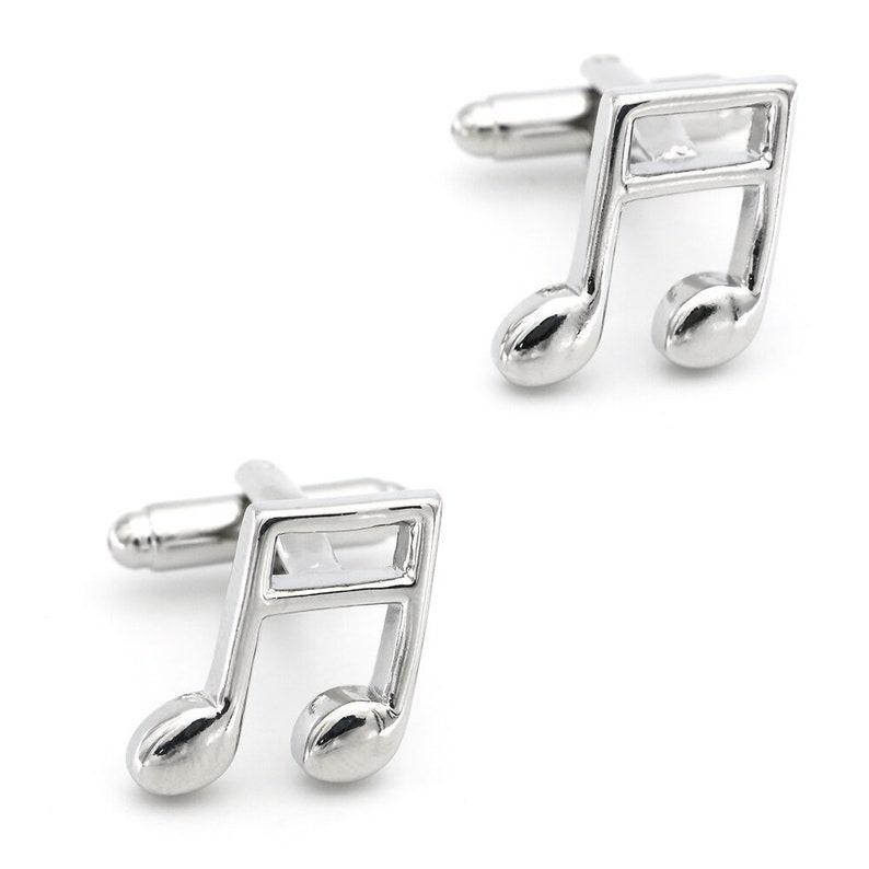 silver cufflinks gift novelty cufflinks mens cufflinks musical cufflinks musician gift cufflinks set Silver Musical Note Cufflinks