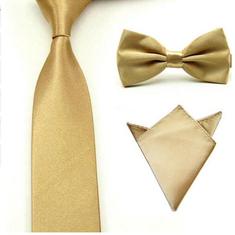 a0659a803d12 Gold Tie Bow Tie & Pocket Square skinny tie gold tie set | Etsy