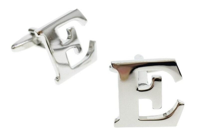 novelty cufflinks mens cufflinks Silver Letter E Cufflinks initial cufflinks letters cufflinks alphabet cufflinks cufflinks gift
