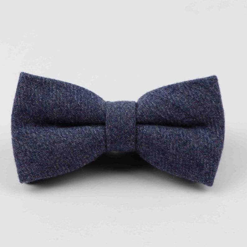 2e7f49096fa2 Dark Blue Herringbone Wool Bow Tie mens bowtie mens bow   Etsy