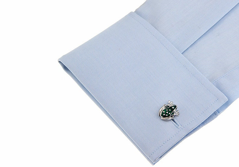 gift for groom animal cufflinks gifts for men Silver /& Green Frog Cufflinks mens cufflinks novelty cufflinks groomsmen cufflinks