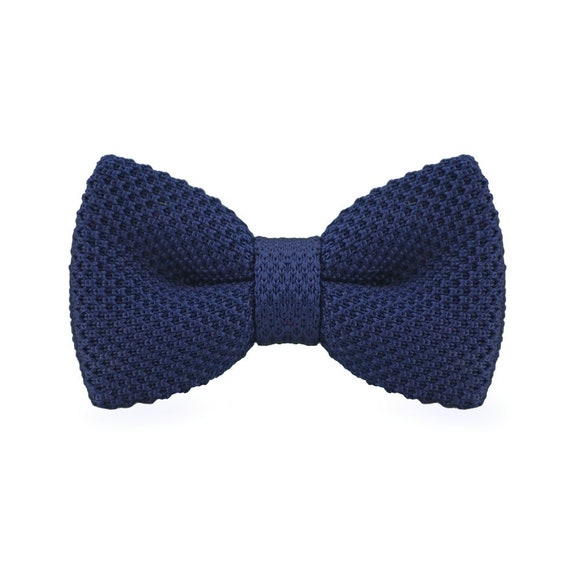 Navy Knitted Bow Tie Blue Bowtie Mens Blue Bowtie Bowtie Etsy