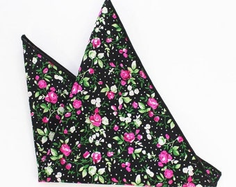 Black Floral Pocket Square | floral handkerchief | mens floral pocket square | gift for groom | pocket square for men | wedding gifts