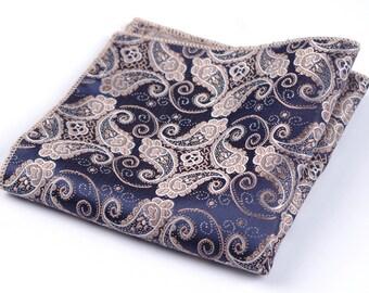 Dark Blue Paisley Pocket Square | jacquard handkerchief | mens pocket square | mens handkerchief | mens paisley handkerchief | gift for him