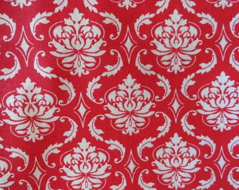 White Damask On Red Steering Wheel Cover