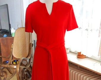 Vintage 60's/70's Bright Red Full Length Dress