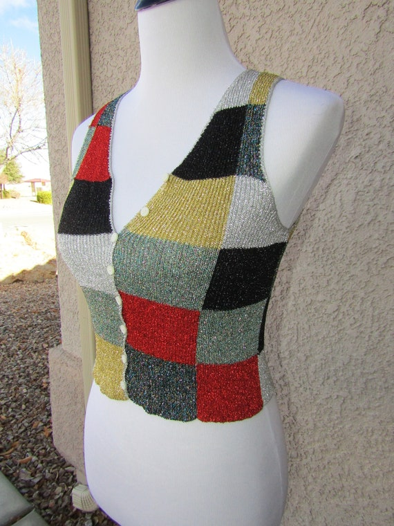 vintage 70s vest Pointelle Chevron White V neck Button Up Vest hand made  Size S-m
