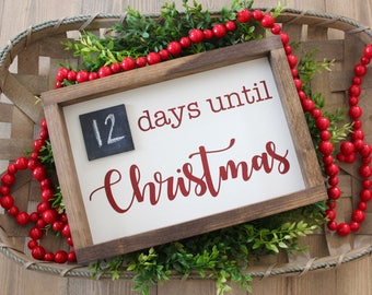 Christmas Countdown Sign | Days Until Christmas | Christmas Decor | Farmhouse Style Sign | Rustic Wooden Sign | Christmas Sign