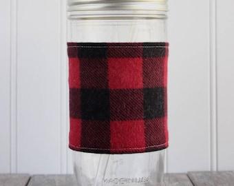 Red & Black Buffalo Check Flannel Mason Jar Sleeve - for PINT AND A HALF Mason Jar (24 oz)