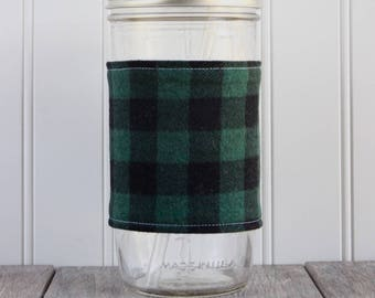 Green & Black Buffalo Check Flannel Mason Jar Sleeve - for PINT AND A HALF Mason Jar (24 oz)