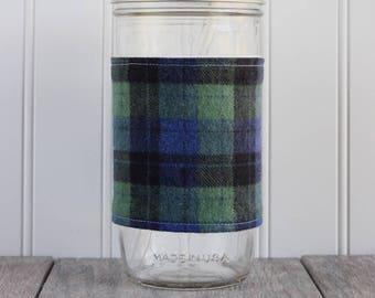 Green & Blue Plaid Flannel Mason Jar Sleeve - for PINT AND A HALF Mason Jar (24 oz)