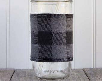 Gray & Black Buffalo Check Flannel Mason Jar Sleeve - for PINT AND A HALF Mason Jar (24 oz)