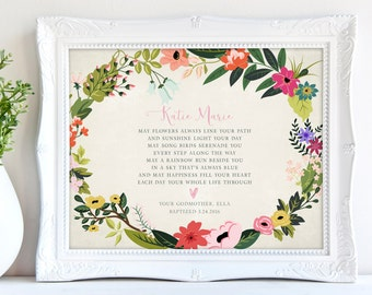 Personalized Baptism Gift from Godparents Christening Gift for Goddaughter Baby Girls Baptism Gift for Goddaughter New Baby Nursery Print