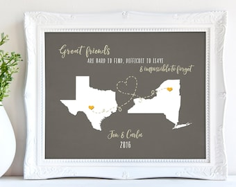 Best Friend Gift Birthday Quote Gifts Long Distance Friendship State To Custom Colors Fonts 8 X 10