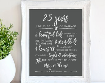 a4ecce6c1 25th Wedding Anniversary Gift for Parents, Silver Print, 25 years together  Sign, Silver anniversary, Personalized Print print 8 x 10