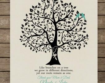 Family Tree Custom Home Print Thank you wedding gift for | Etsy