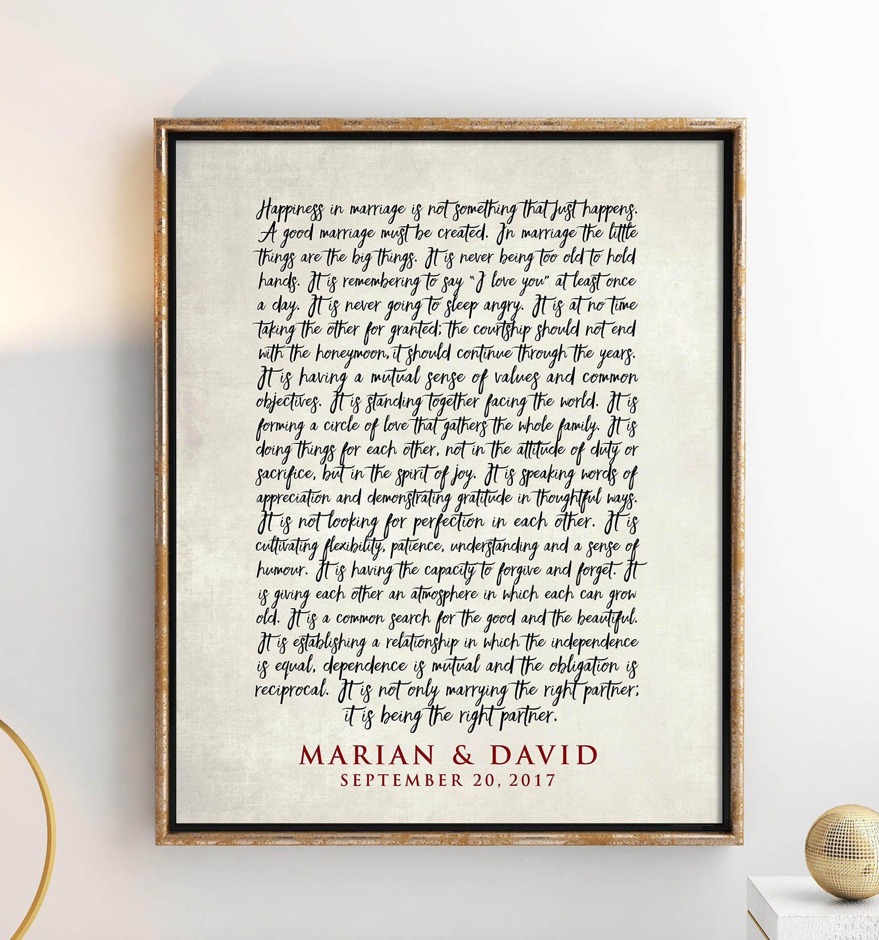 Custom Wedding Art Poster: The ART Of MARRIAGE Poem Print Personalized Wedding