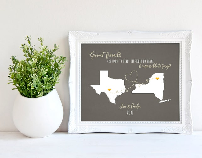 Best Friends Long Distance Map Personalized Birthday Gift Ideas Friend Sister Cousin Love Bestie Present Custom