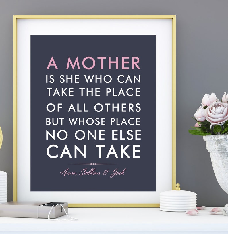 Birthday Gift For Mom From Children Kids Personalized Mothers Day Verse Quote Mum Print Art Choose Fonts Colors 8 X 10