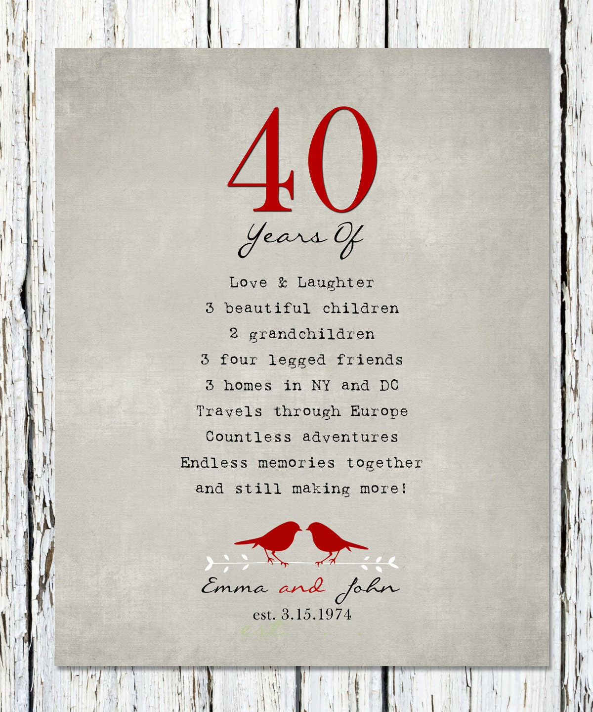 40th Anniversary Gift For Parents 40th Ruby Anniversary Etsy