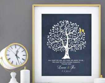 Parent Wedding Gift, Brides Parents, Grooms Parents, Mother of the Groom, Mother of Bride, Wedding Tree Art Print custom colors 8x10 print