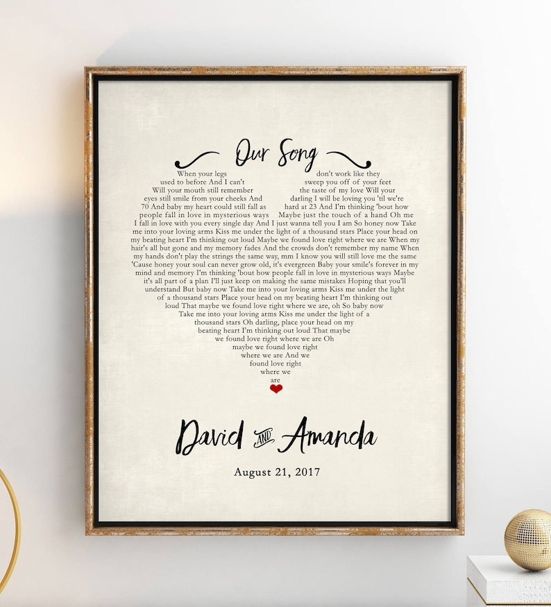 Custom Song Lyric Poster First Anniversary Paper Gift image 0