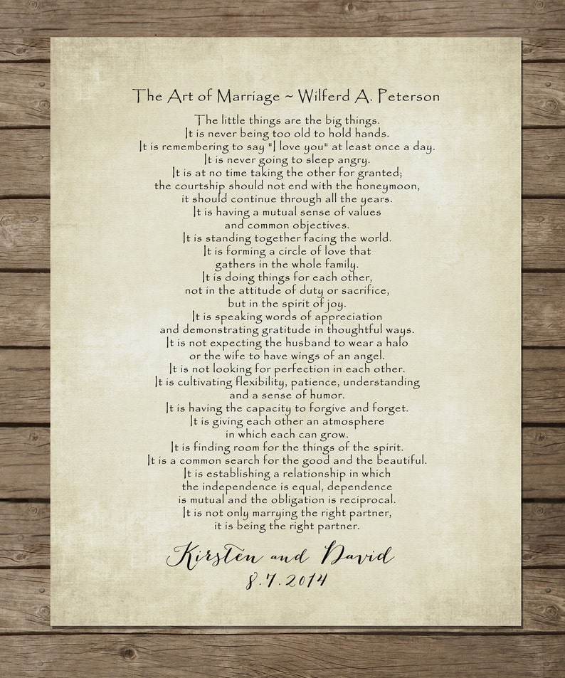 The ART of MARRIAGE Poem Print Personalized Wedding Blessing image 0