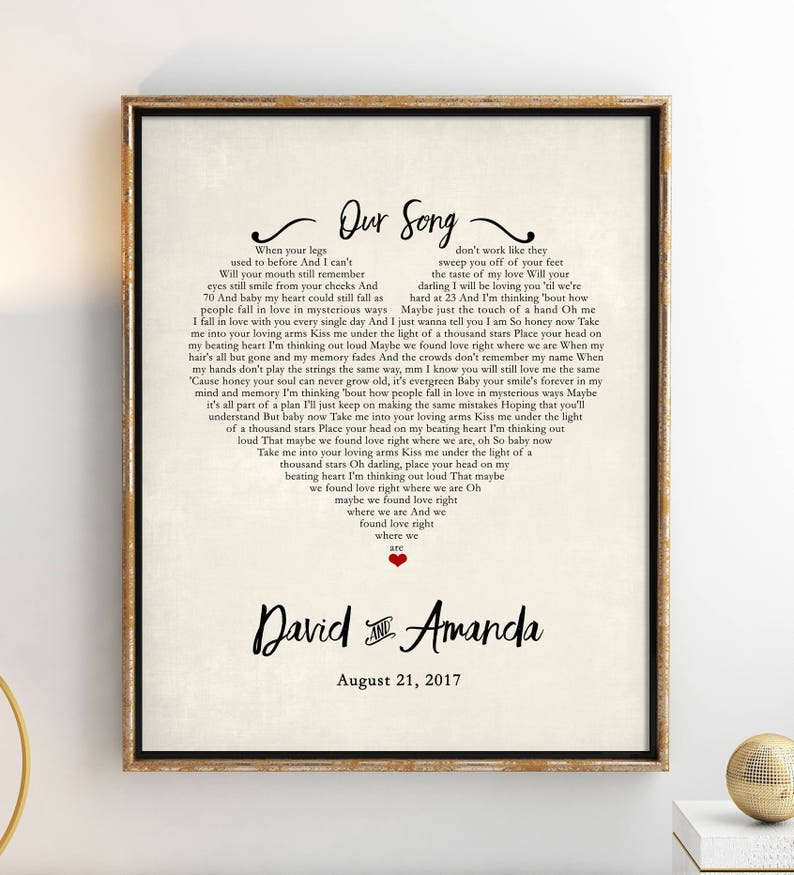 Custom Song Lyrics  Wedding Song Lyric Art  Personalized image 0