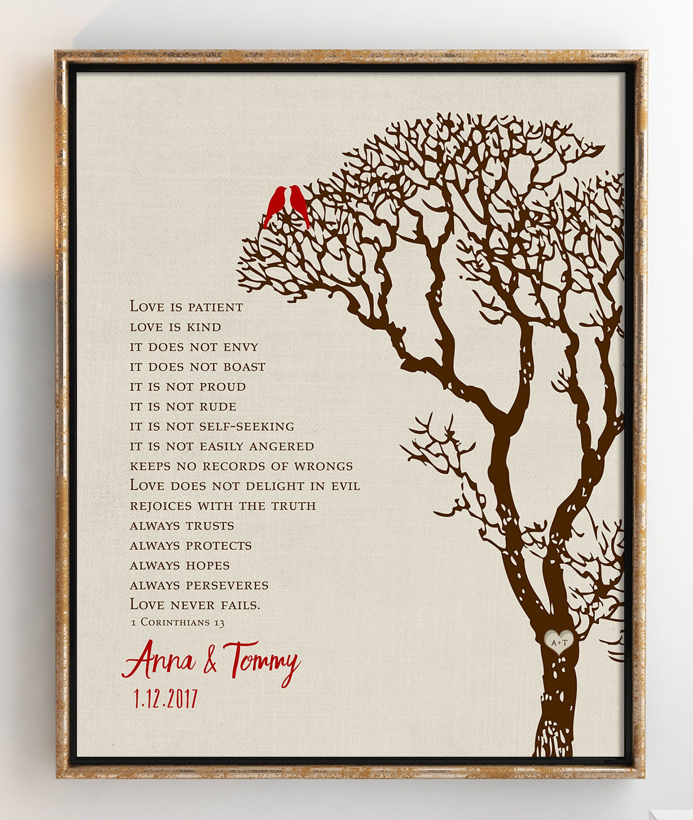 Family Tree Wedding Gift: Personalized Wedding Gift Family Tree Art Love Birds In